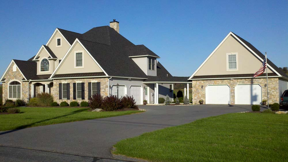 suburban home with attached garage